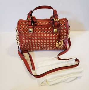 Michael Kors | Grayson red leather grommet satchel